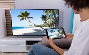 Partage d'ecran de tablette sur un televisio