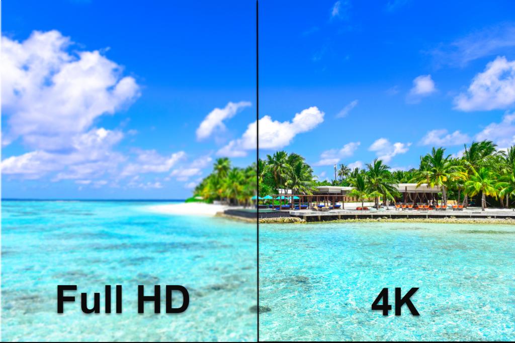 comparaison de la resolution full hd avec la 4k