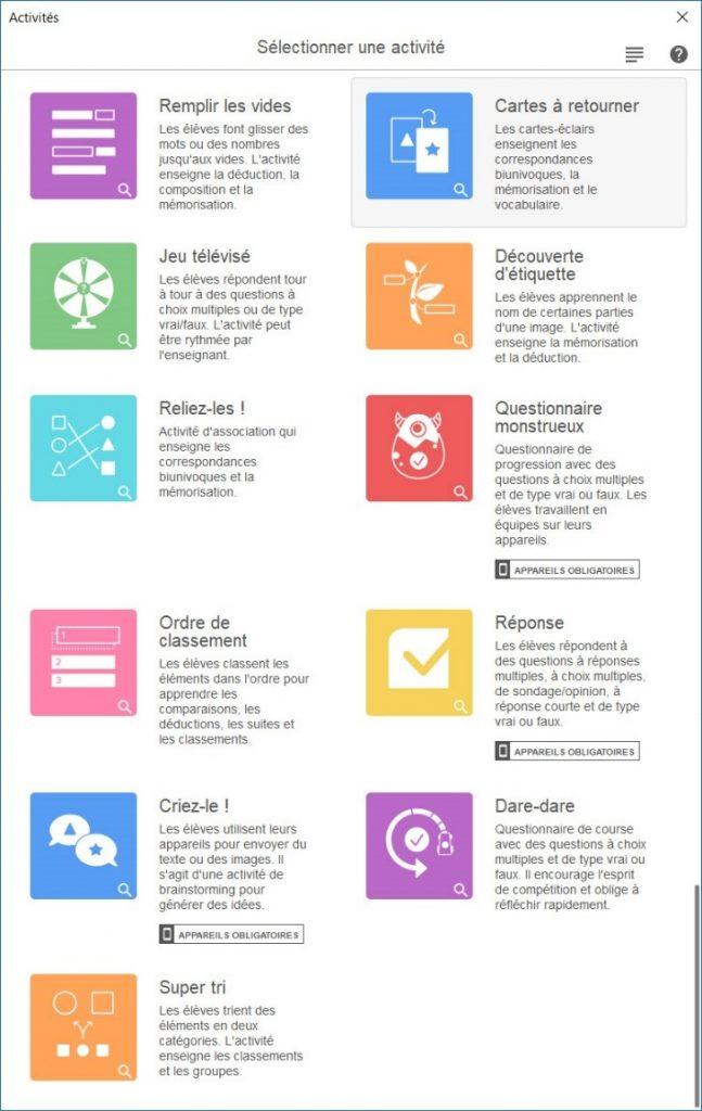 Liste des 11 activités offertes par SMART Notebook (avec abonnement)